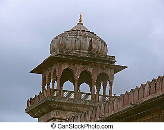 Dome of Taj-ul Masjid, one of the largest mosques in India,...