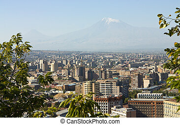 City Yerevan - View of the majestic Mount Ararat from...