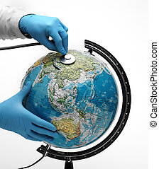 Doctor examine with stetoscope the ill Earth