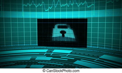 Futuristic animation showing screens with padlock key and...