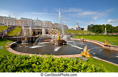 Pertergof, Saint-Petersburg, Russia - Grand cascade in...