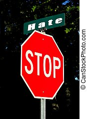 stop hate street sign