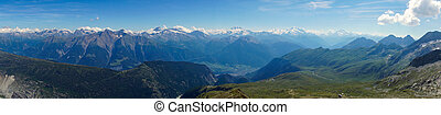 Panorama of the swiss alps - A panorama of the mountains in...