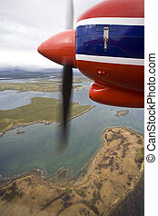 Flying over a remote part of the Falkland Islands - Flying...