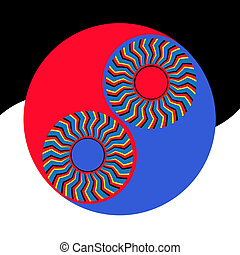 Yin-yang Illusion - Rotating patterns and a yin-yang symbol...