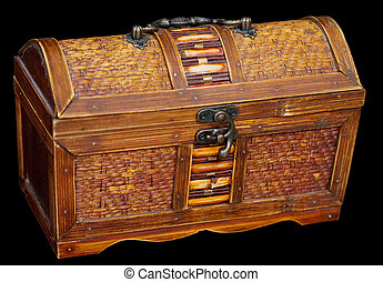 Wooden ancient chest on the black background