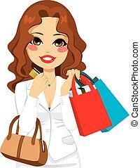 negócio, mulher, shopping