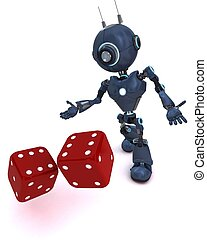 Android rolling dice - 3D Render of an Android rolling dice...