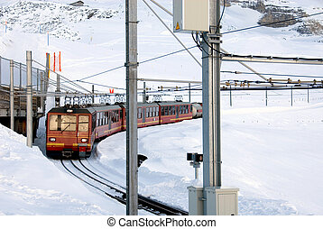 Mountain Train - The train that runs from Kleine Scheidegg...