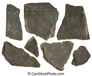 pieces of slate rock with red and green tint