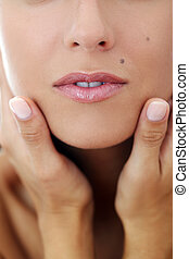 Closeup of a woman's face - Closeup portrait of a woman's...
