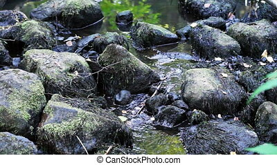 Mountain stream with boulders - Mountain stream with black...