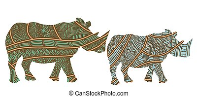 rhinos - family of rhinos in the ethnic style on a white...