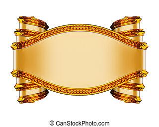 beige, leer, wappen, symbol, goldenes, Schieben, curles