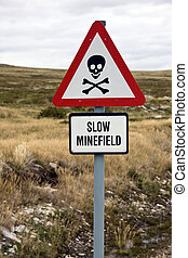 Minefield sign - Falkland islands - Danger Minefield sign...