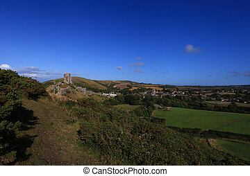 Corfe Castle Dorset - Corfe Castle Ruins in South England...