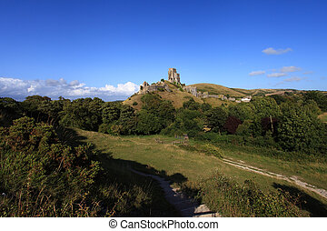 Corfe Castle Dorset - Corfe Castle Ruins in South England...