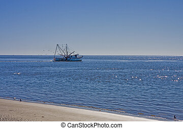 Shrimp Boat on Blue - A shrimp boat working the calm blue...