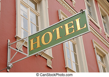 Hotel sign in an old German town