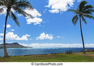 Ala Moana Bowls and Diamond Head - A view of popular surf...