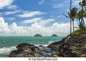 Lanikai - A view of Na Mokulua islands, also known as The...