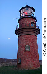 Aquinnah Lighthouse by Moon Light - The warm glow of dusk...