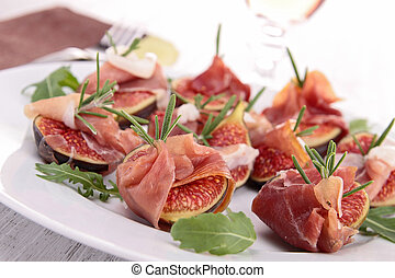 appetizer, fig and prosciutto ham
