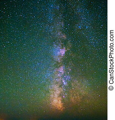 estrellado, cielo, lechoso, manera, nebulosa