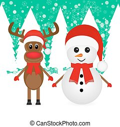 Christmas reindeer and a snowman in a gloomy forest