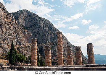 Temple of Apollo at Delphi oracle archaeological site in...