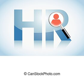 Human resource concept, HR text and magnifying glass