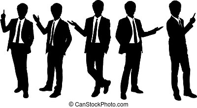 Silhouettes of business man presenting in full length...