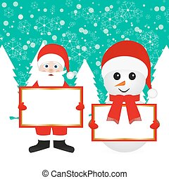 Santa Claus and snowman in the wood