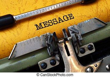 Text, meddelande, skrivmaskin