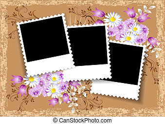 Page layout photo album with flowers