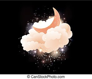 Moon, clouds and stars. Sweet dreams wallpaper.