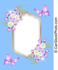 Golden frame and flowers ornament