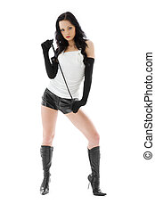 crop games - picture of dominant lady in black leather...