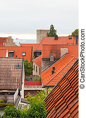 View over Swedish town Visby, with Baltic Sea behind the...