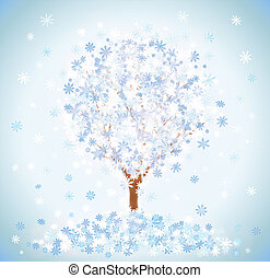 Winter snow-covered tree with snowflakes