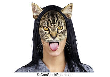 Portrait of cat woman making face - Beautiful young brunette...