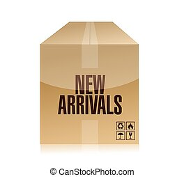 new arrivals box illustration design over a white background