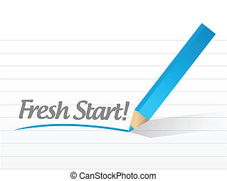 fresh start written on a white paper - fresh start written...