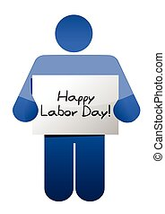 happy labor day message illustration design over white