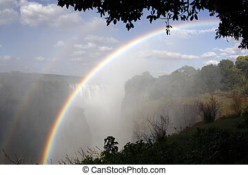Victoria Falls - Zimbabwe - Rainbows in the spray at...