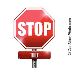 thief stop road sign illustration design over a white...