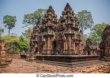 Ancient Angkor Ruins at Cambodia, Asia. Culture, Tradition, Religion. History.