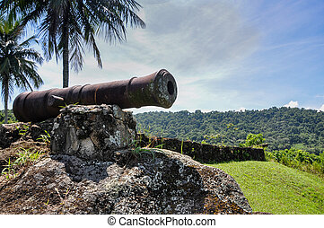 Historical cannon used to combat pirates at Paraty, Rio do...