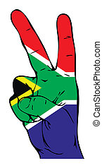 Peace Sign of the South African Fla