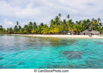 Perfect native caribbean village on crystal clear island....